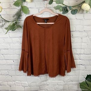Style & co burnt orange faux suede bell sleeve top